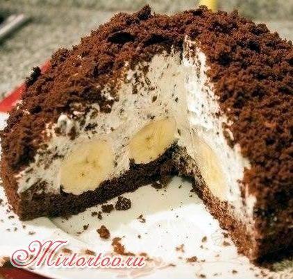 Шоколадно-банановый торт рецепт с фото