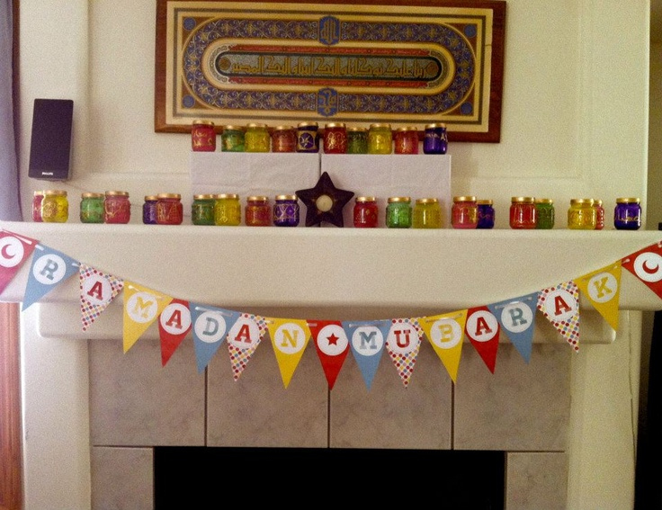 Ramadan banner and candles decorations!
