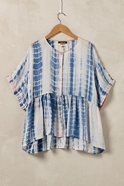 Shibori Silk Blouse, Blue