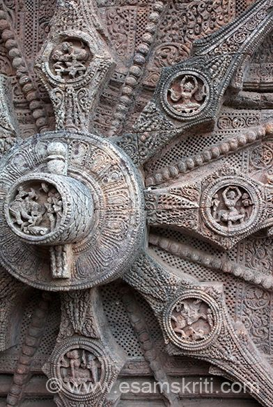 Left of pic in centre of wheel shows lady on a elephant with many other standing at ground level, lowest image is of a lady sitting on a bench with maid in front, above that shows person on what looks like a horse. Close up of top images in next pic. In the centre that you see are richly carved medallions, containing numerous deities, erotic and amorous figures and kanyas in various poses.