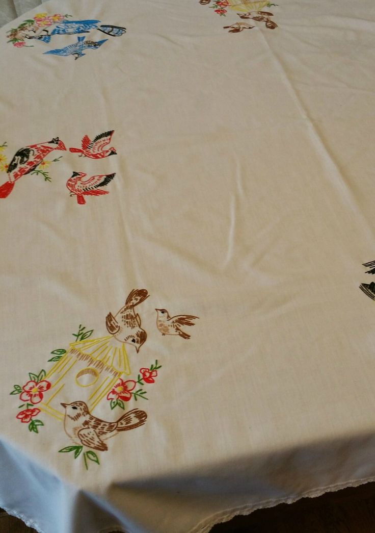Vintage Hand Embroidered Birds Tablecloth, Vintage Cotton Tablecloth, Vintage  Table Linens By EmptyNestVintage On