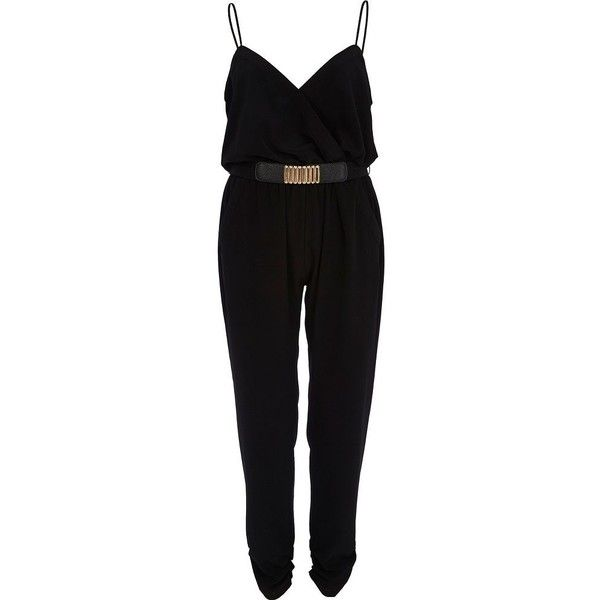 River Island Black metal belt cami jumpsuit found on Polyvore