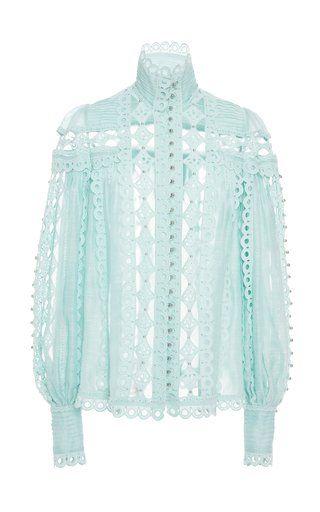 0799761589a3ce Moncur Studded Silk And Linen Shirt by Zimmermann SS19 | Spring ...