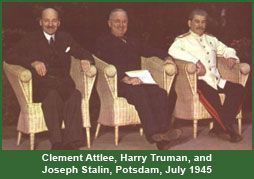 Clement Attlee, Harry Truman, and Joseph Stalin, Potsdam, July 1945