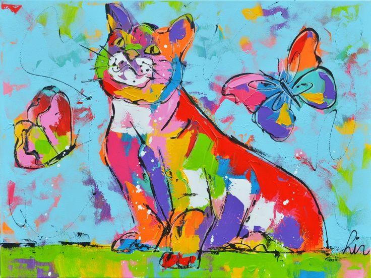 Dit is een: Acrylverf schilderij op doek, titel: 'Poes en vlinders' kunstwerk vervaardigd door: Liz
