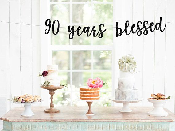 Cheers to 90 Years banner, 90th Birthday Banner, Happy Birthday Banner, Gold Glitter Pary Decorations, 90 Years Blessed