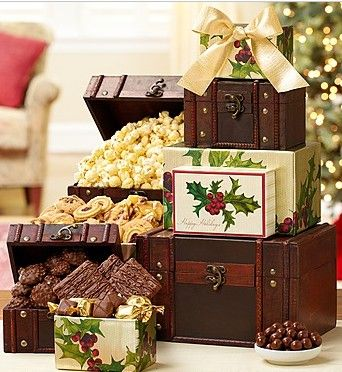 Holiday Treasures Trunk Gift Tower from 1-800-Baskets.com.  Take a much-deserved break from the holiday hustle and bustle and discover which one of the four treasure boxes has Godiva, ® Ghirardelli, ® Harry London® or the Popcorn Factory® in store. This could also be your best corporate gift idea ever.  Get your rebate from RebateGiant.