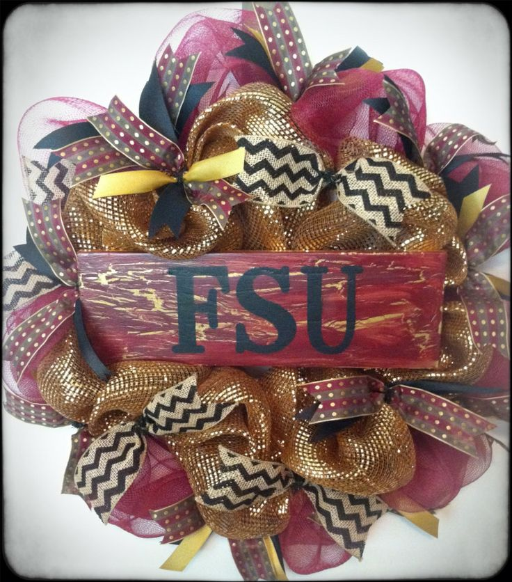 Florida State Seminoles Wreath FSU Football by PollysPinkTurtle, $58.00