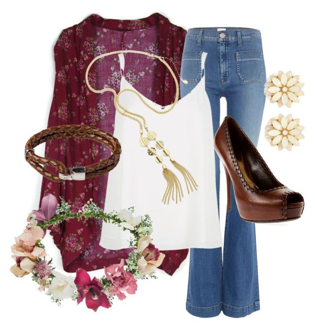 """Boho Maroon"" by brooke-boyd-1 on Polyvore featuring Hudson Jeans, River Island, Topshop, Gucci and Forever 21"