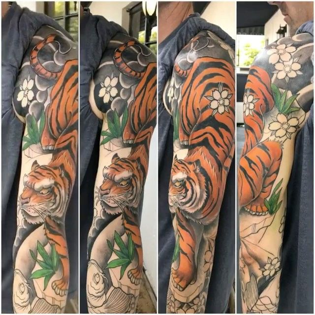 "254 Likes, 3 Comments - Guru Tattoo (@gurutattoo) on Instagram: ""Today's fun by @alonzovilla. More to come! #gurutattoo #tiger #tattoo"""