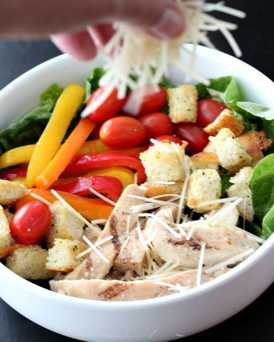 Grilled Chicken salad with parmesan cheese and homemade croutons #ad #tbd