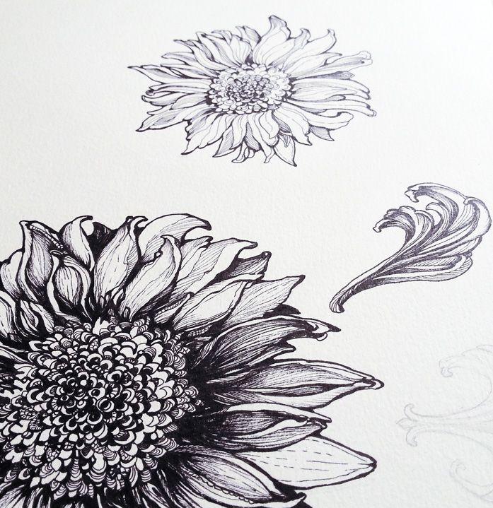Sunflower Floral Design Drawing #illustration #art #nature