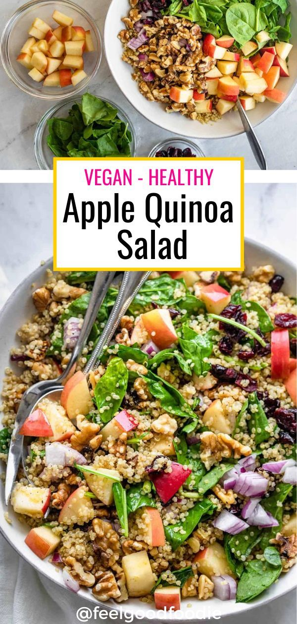 Apple Quinoa Salad Vegan Homemade Dressing Feelgoodfoodie Recipe In 2020 Salad Dishes Healthy Recipes Best Salad Recipes