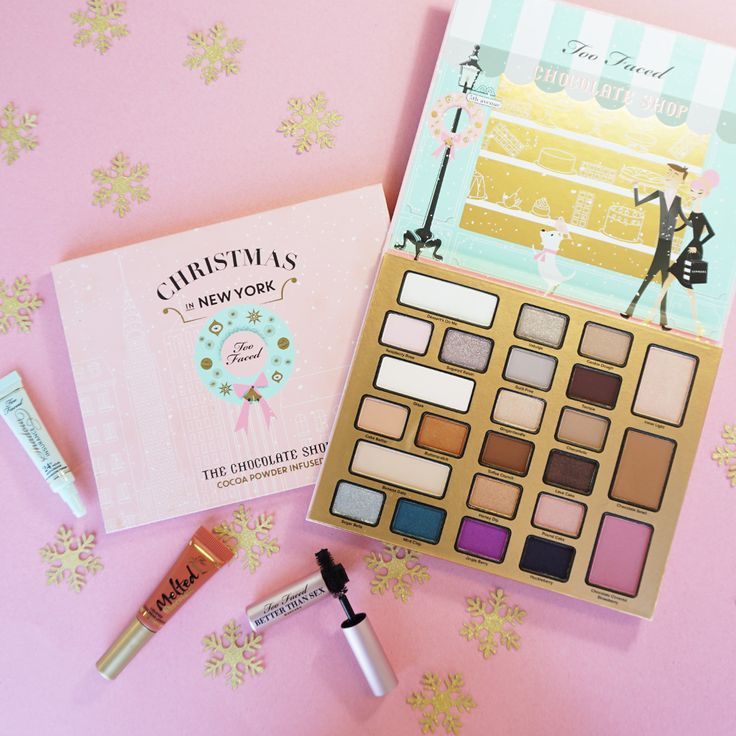 Too Faced's Limited Edition The Chocolate Shop is a makeup set with cocoa powder-infused products—from 21 eye shadows to blush and lipstick.