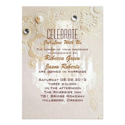Formal Elegant Swirls Chandelier Vintage Wedding Announcement