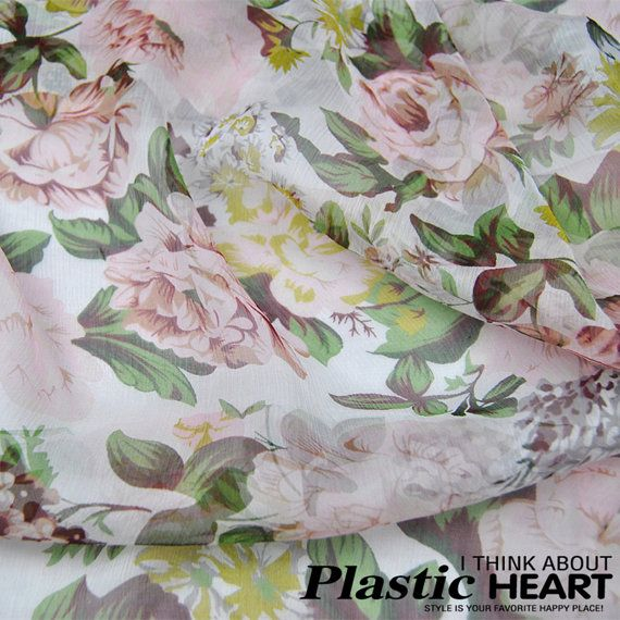white pure silk georgette fabric with large floral by cosyfabric