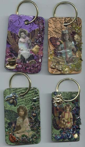 Formica tag keychains #tags #altered art.  Just thought about this and I could make my dominoes into these, too!  Fun!