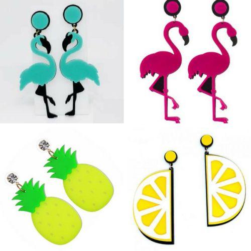 brincos divertidos de acrilico flamingos e frutas