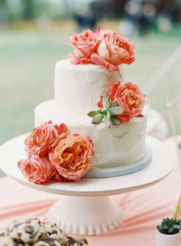 Ivory Wedding Cake with Coral Roses & Succulents