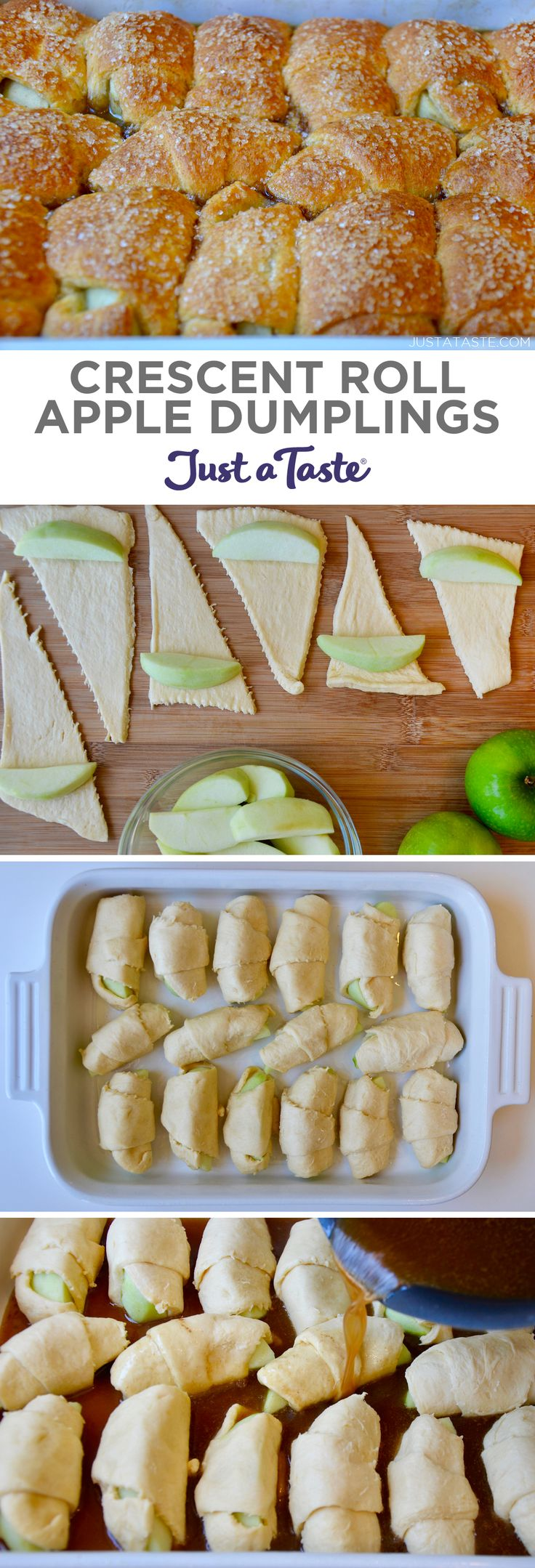 Crescent Roll Apple Dumplings recipe from justataste.com #recipes #fall #apple