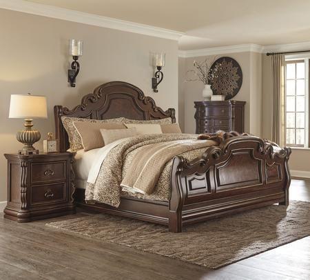 Florentown Queen Bedroom Set with Sleigh Bed and Nightstand in Dark