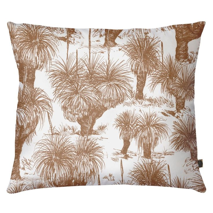 Our beautiful cushions are printed and sewn locally in Australia using our unique hand-artworked designs. The Grasstree Rust cushion cover features our Grasstre