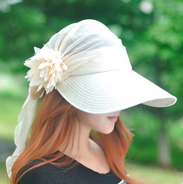Fashion flower sun visor hat for women outdoor UV sun protection hats