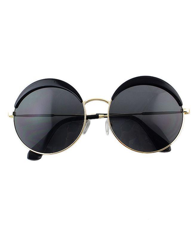 Fashionable Round Black Oversized Sunglasses Sunglasses