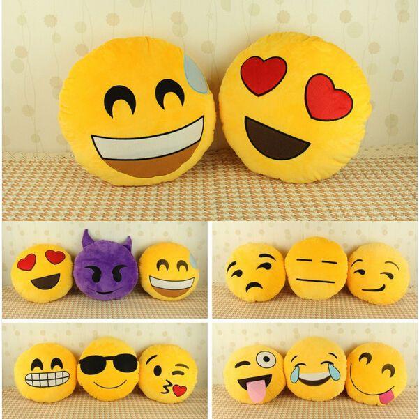 Cute Emoji Smiley Emoticon Yellow Round Cushion Pillow Stuffed Plush Toy Doll #Unbranded