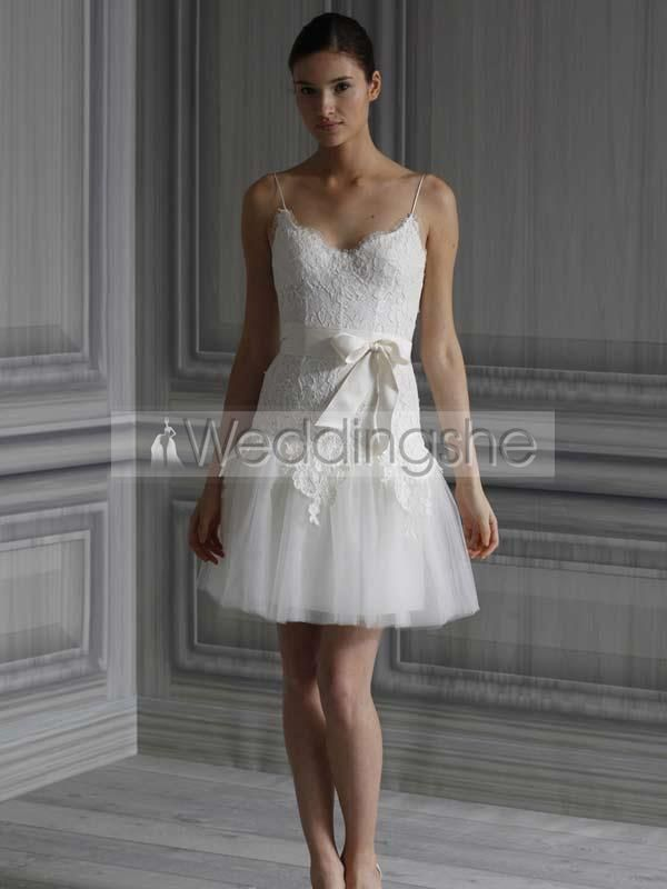 Charming Short/Mini-length Spaghetti Straps Appliques Wedding Dresses