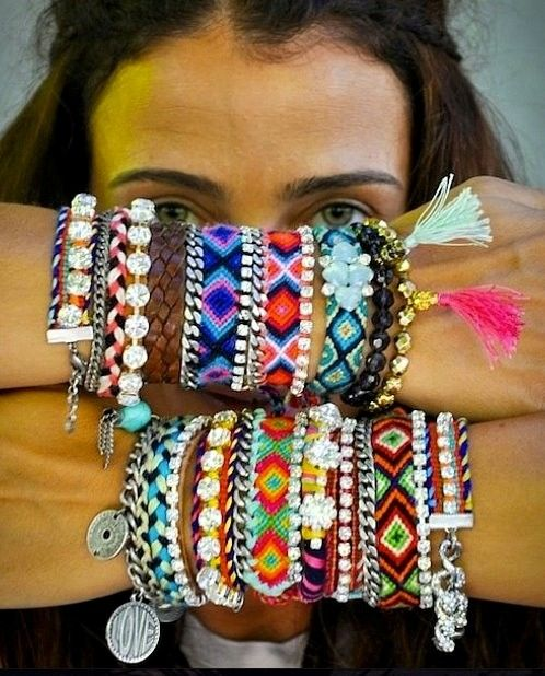 those woven bracelets we used to make in high school... i can't remember how.