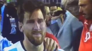 Leo Messi in tears ahead of making Argentina retirement announcement...  Lionel Messi cry after penalty miss - Argentina vs Chile