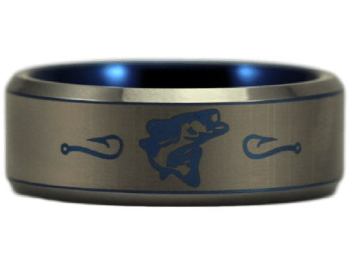 Tungsten Carbide Bass Fishing Ring. Great gift for anyone who loves fishing! Please read before buying: Tungsten Carbide is highly scratch resistant, and will resist abrasions better than any other me