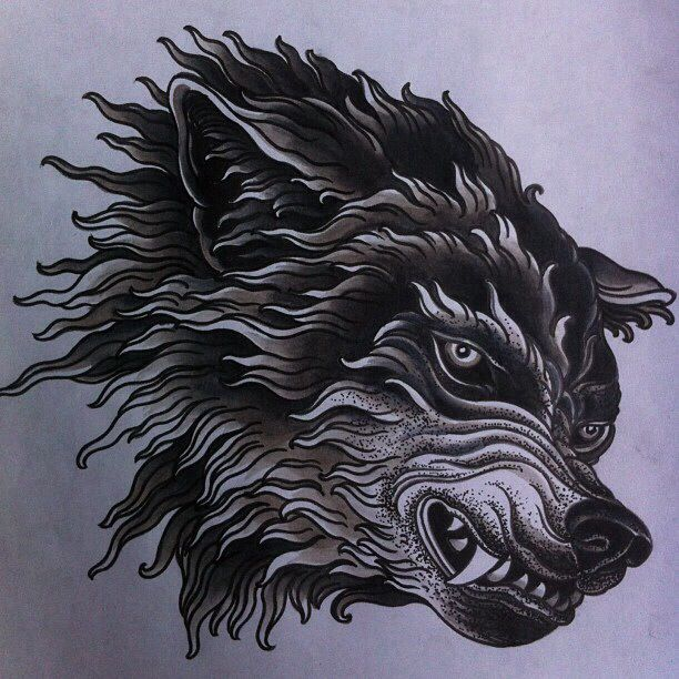 Wolf illustration. Tattoo flash art.                                                                                                                                                     Mais