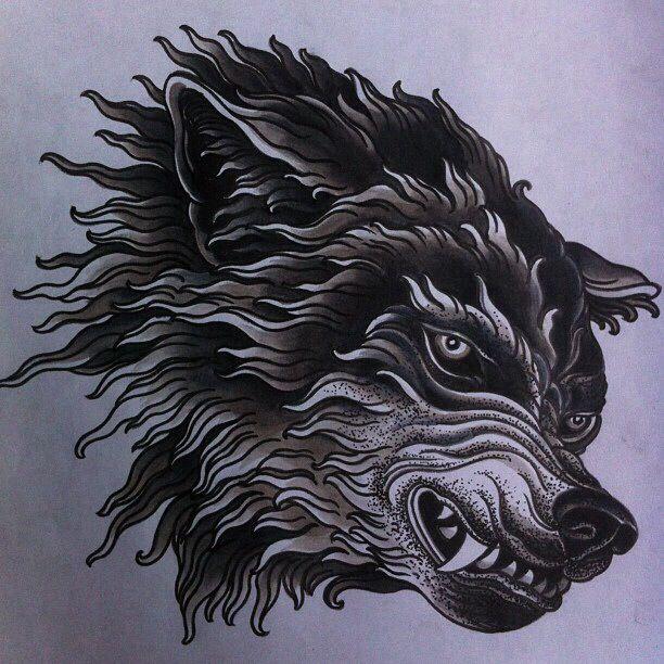 Wolf illustration. Tattoo flash art.