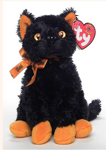'Fraidy' with orange eyes, ears and paws was the first Beanie Baby to have an animal design on its orange ribbon - little black cats   This Beanie had one previous owner, a Ty Collector who bought 'Fraidy...