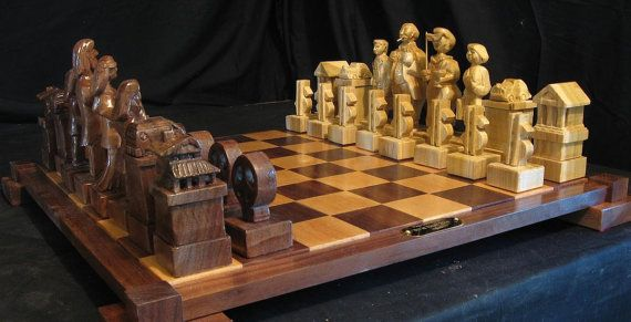 Chess Set Handmade Hippies Chess Set on etsy hand carved chess sets and chess boards, chess pieces