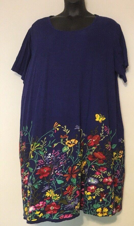 LA CERA 3X Dress Blue Floral House Patio Dress MuuMuu Pockets Below ...
