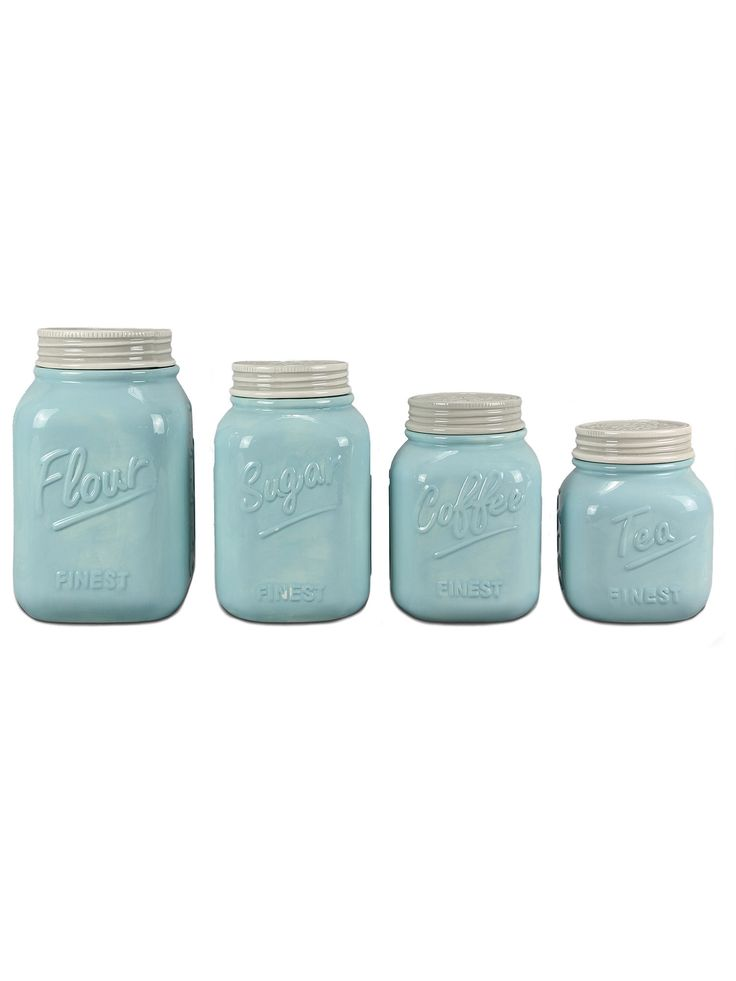 This blue ceramic mason jar canister (set of 4) will add some country charm and style to your kitchen decor. The set of 4 canisters include, flour, sugar, coffee and tea. This adorable canister set is