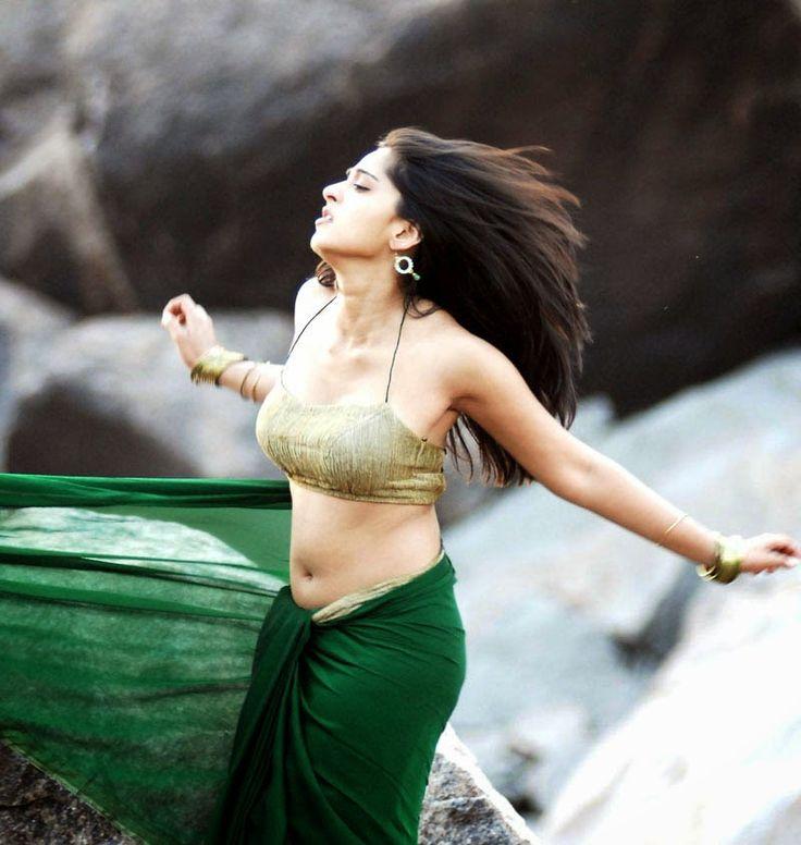Anushka Shetty Hot In Backless Blouse Photos And Navel