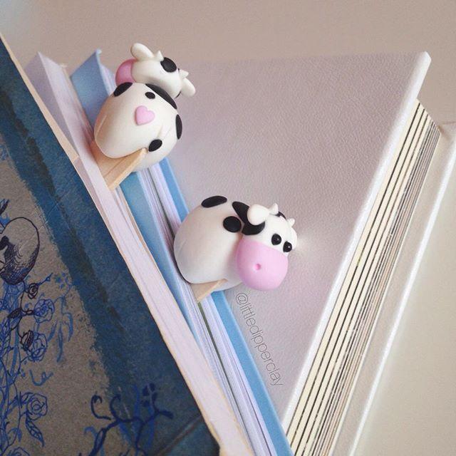 •Handmade polymer clay jewelry @littledipperclay #bookmark #cow #...Instagram photo | Websta (Webstagram)