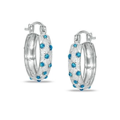 Paris Jewelry 1/4 Carat Genuine Blue Diamond Platinum Hoop Earrings -