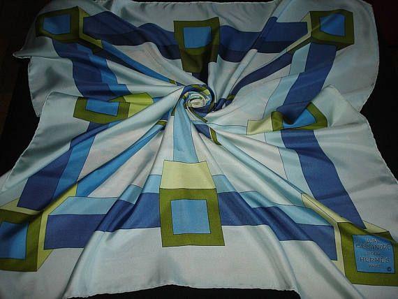 """HERMES sjaal zijden sjaal door AM Cassandre 1968 tuch """"PERSPECTIVE"""""""