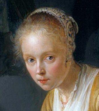 Gerard Dou: detail van schilderij: Jonge vrouw, bezig met het hakken van uien. 1646.