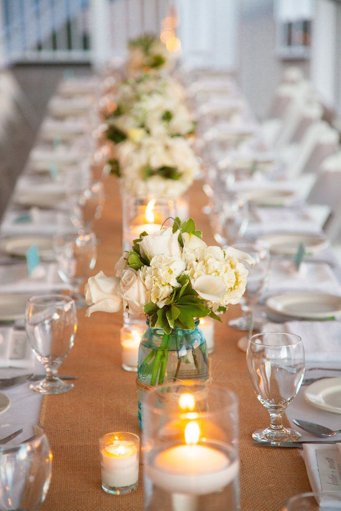 Burlap Table Runner. 12 Beautiful Burlap Ideas on @intimatewedding for rustic weddings #tablerunner #intimatewedding