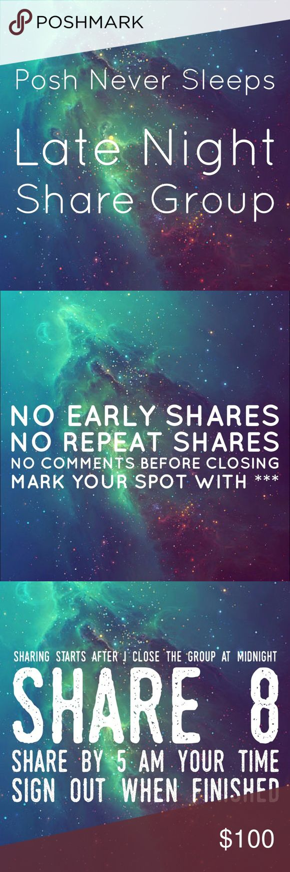 """2/22 Wed Late Night Share Group Sign up closes at midnight est⭐️Tag your name to sign up⭐️Write """"new"""" if you're new⭐️Share 8 for sale items from everyone who signs up⭐️No sharing until midnight est when I close the group⭐️Share by 5am your time⭐️Be Posh compliant or you may be skipped⭐️Mark your spot with ***and first 3 letters of where you left off⭐️Sign out when done⭐️Be fair and do your part or you will be blocked⭐️Please only ask questions in the Q&A listing under """"other.""""⭐️No comments…"""