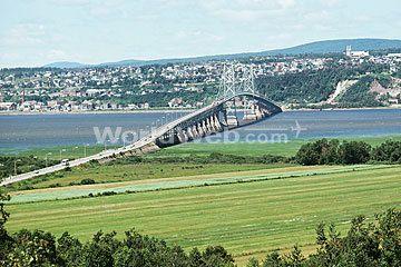 Pont de I'lle Bridge from Ile d'Orleans, Quebec.