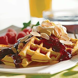 recipes for waffles yum cornmeal and chive waffles with salsa and eggs ...