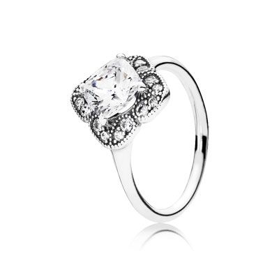 Inspired by antique jewelry styles, this enchanting ring has a timeless, elegant appeal that will intrigue women everywhere. A cushion-cut centre stone lends a sensual shape and subtle sparkle to the design. #PANDORA #PANDORAring