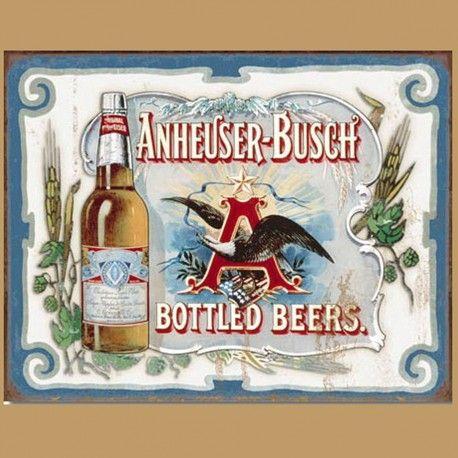 "Enseigne en Métal avec Fini Vieillit Anheuser Bush Budweiser ""Bottled Beers"""